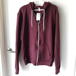 NWT American Apparel Unisex PolkaDot Zip Up Hoodie